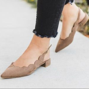 Shoes - Taupe Sling Back Flats